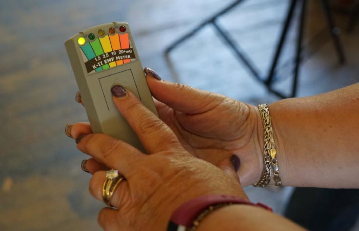 Sandra brought her own spirit detection devices, including this electromagnetic frequency meter. ( JS )