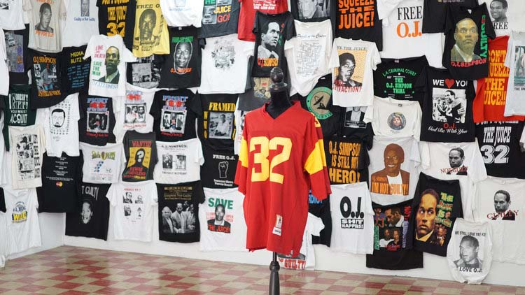 Visitors were greeted by a wall of OJ-centric T-shirts that are now considered collectables. (Photo:  Jessie )