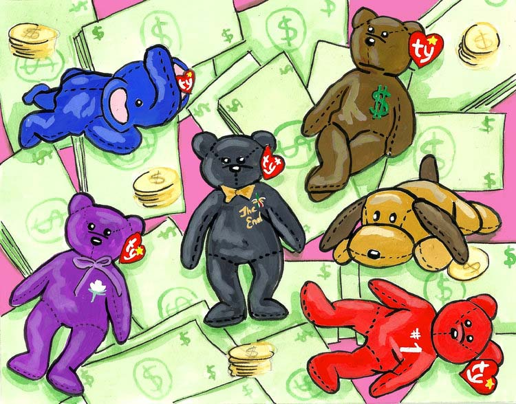 There's still (some) money to be made in selling collectable Beanie Babies, but there's a lot you have to know — and do — to get it. (Art:  Brenna Daugherty )