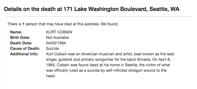 Here's an example of the report that comes up when you search Kurt Cobain's old address.