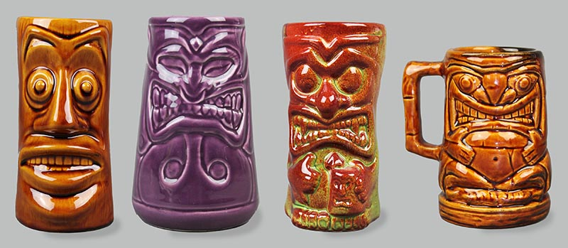Tiki Farm started with four original cup designs, aptly named (from left-to-right): Log, Dental, Drinky, and Stoney. (Photo:  Tiki Farm )