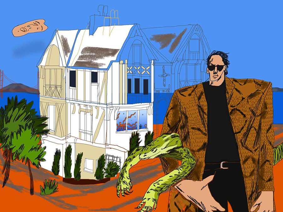 The first property Nicolas Cage bought in San Francisco was an 1898 Queen Anne Victorian. (Art:   Hannah Buckman  )