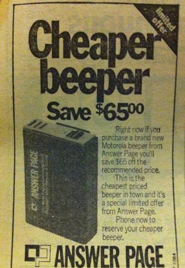 A now-vintage advertisement for pagers from 1983. (Flickr/ Rhys Moult )