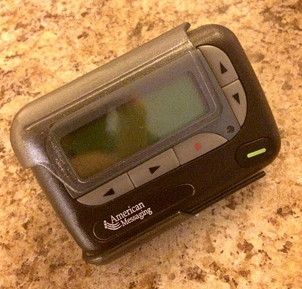 Sundahl's hospital-issued pager which he must wear everyday on-the-job. (Photo: Mark Sundahl)
