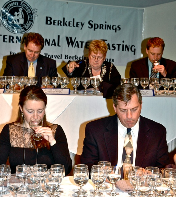 Five judges from a past Berkeley Springs Water Tasting Festival.  Photo:    Berkeley Springs