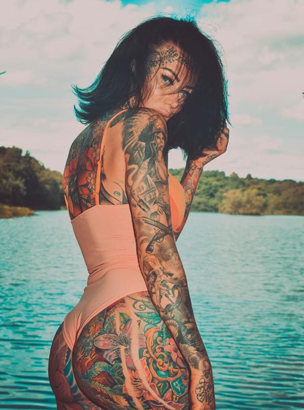Most of Holt's body is covered in tattoos, but none of her ink has garnered quite as many reactions as her forehead tattoo. (Photo:  Becky Holt )
