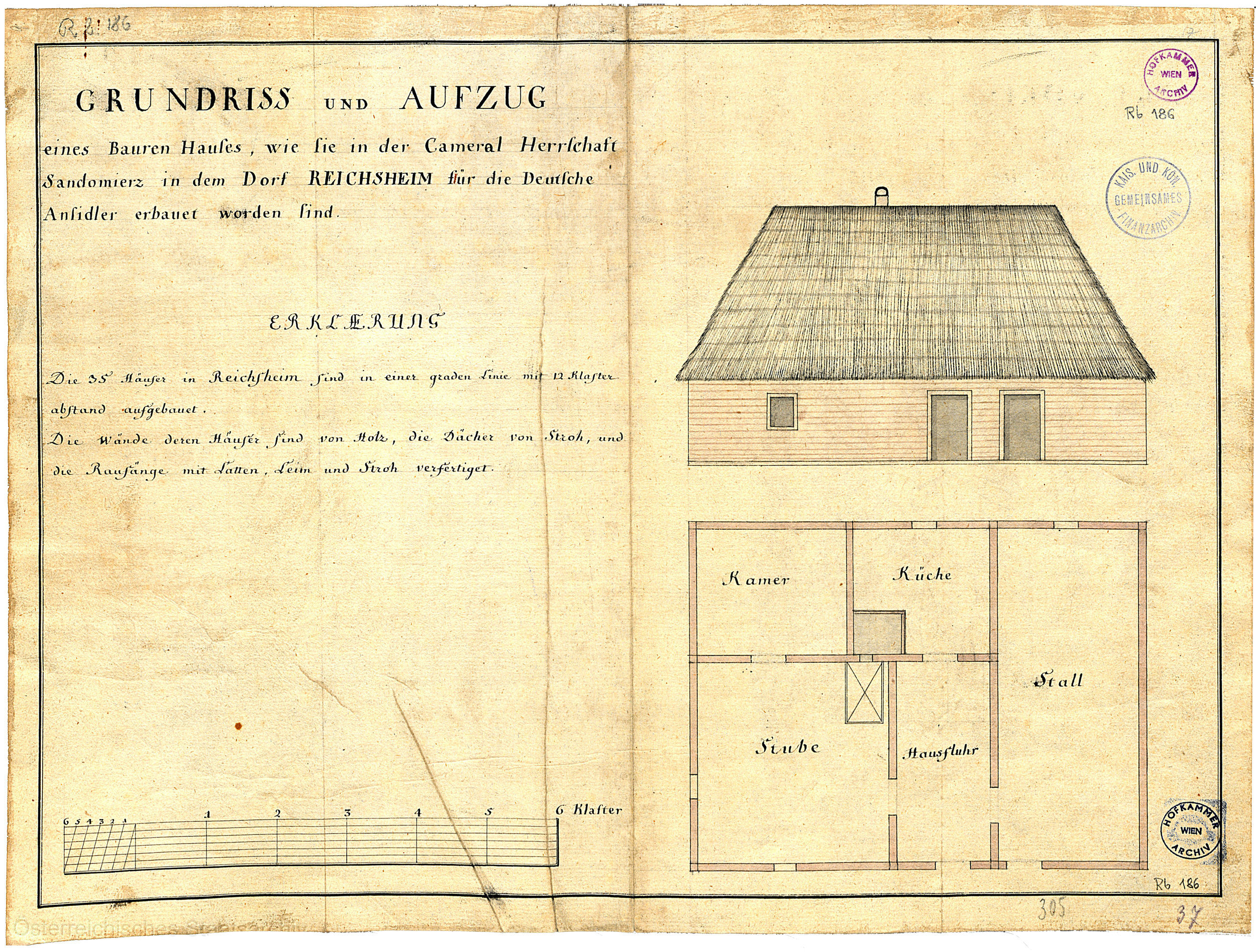 Floor plan and vertical section of a standard colony house in Galicia, 1784