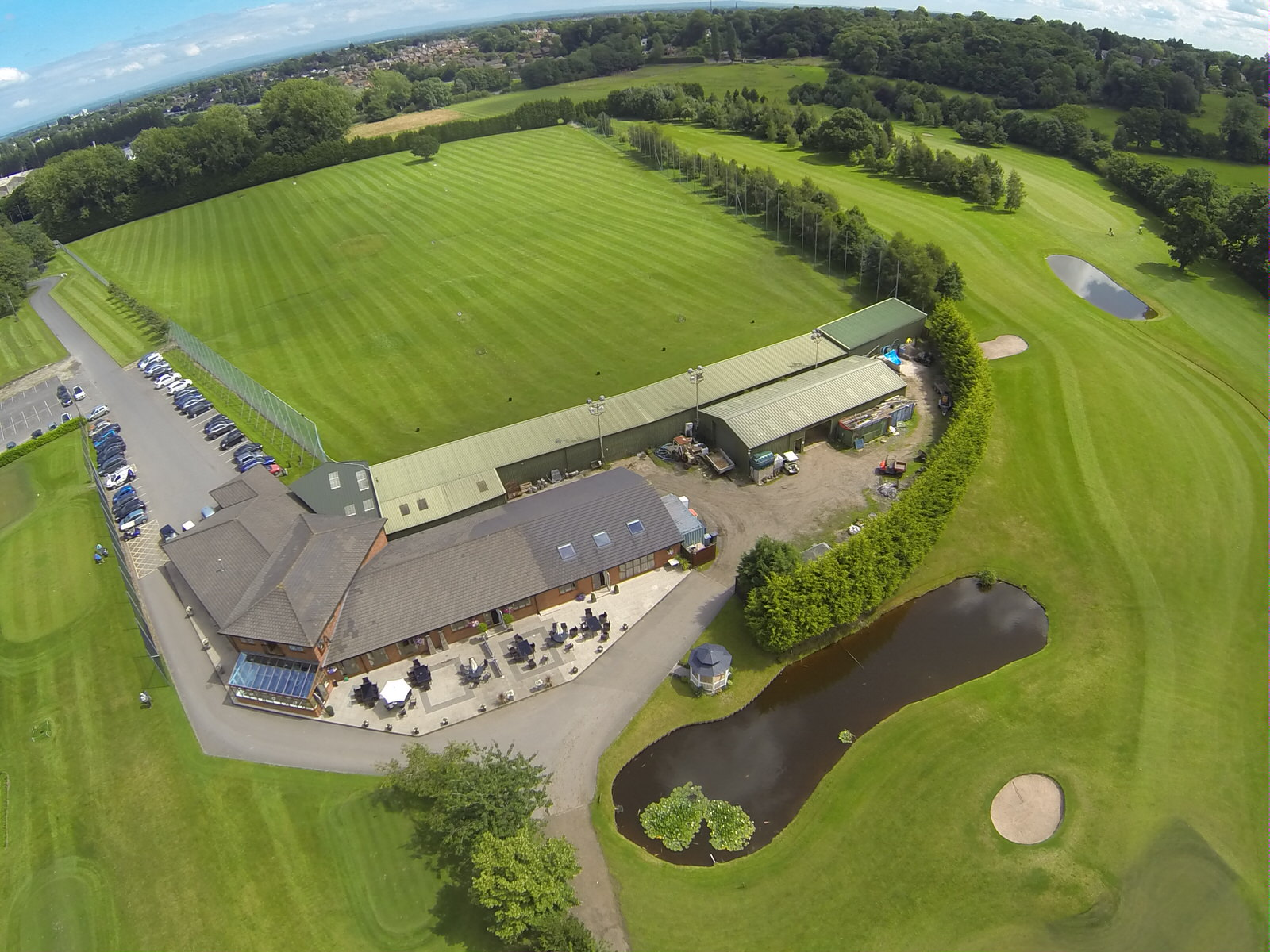 Aerial view of driving range