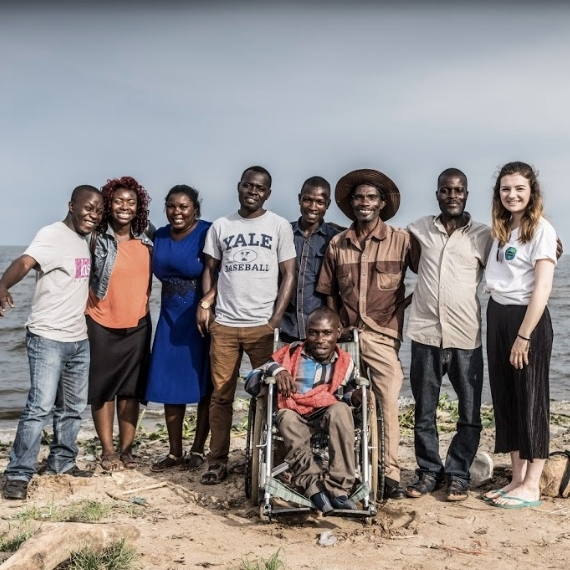 Team  MADIPHA  photographed in front of Lake Victoria, Uganda