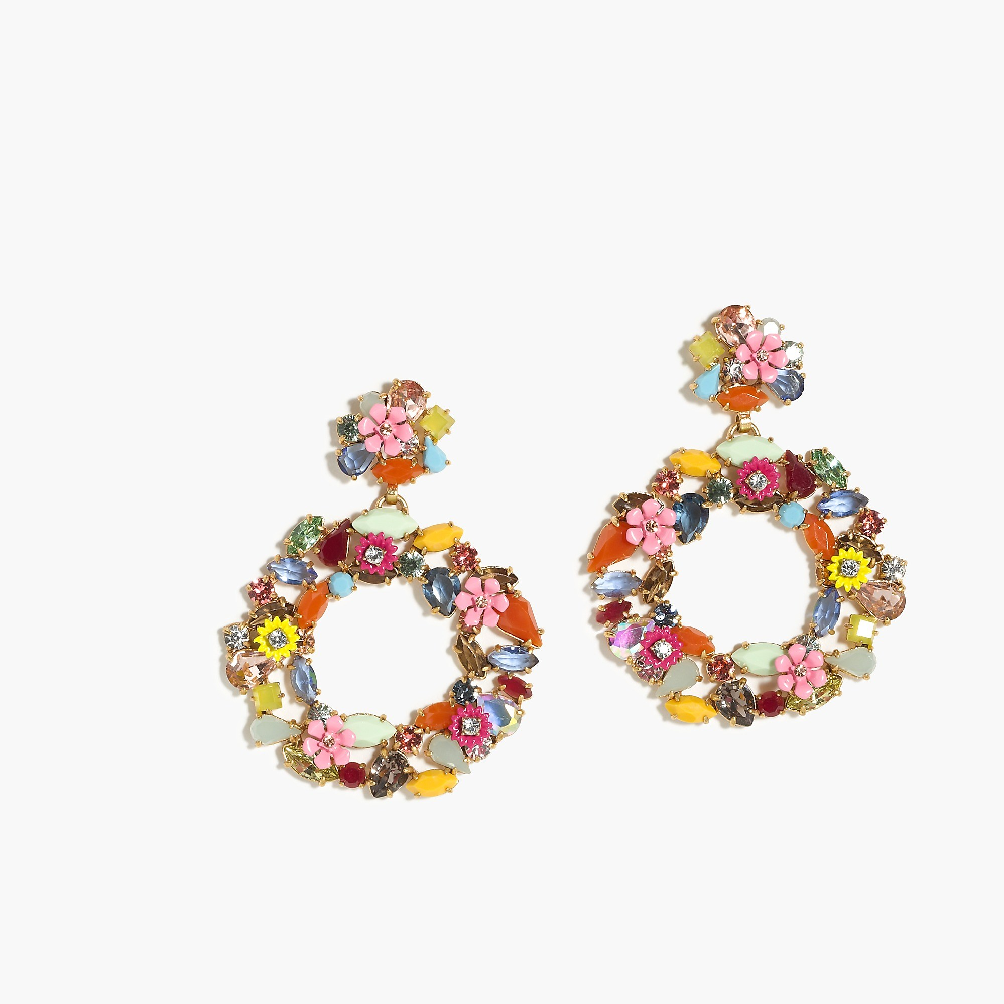Colorful Floral hoop earrings