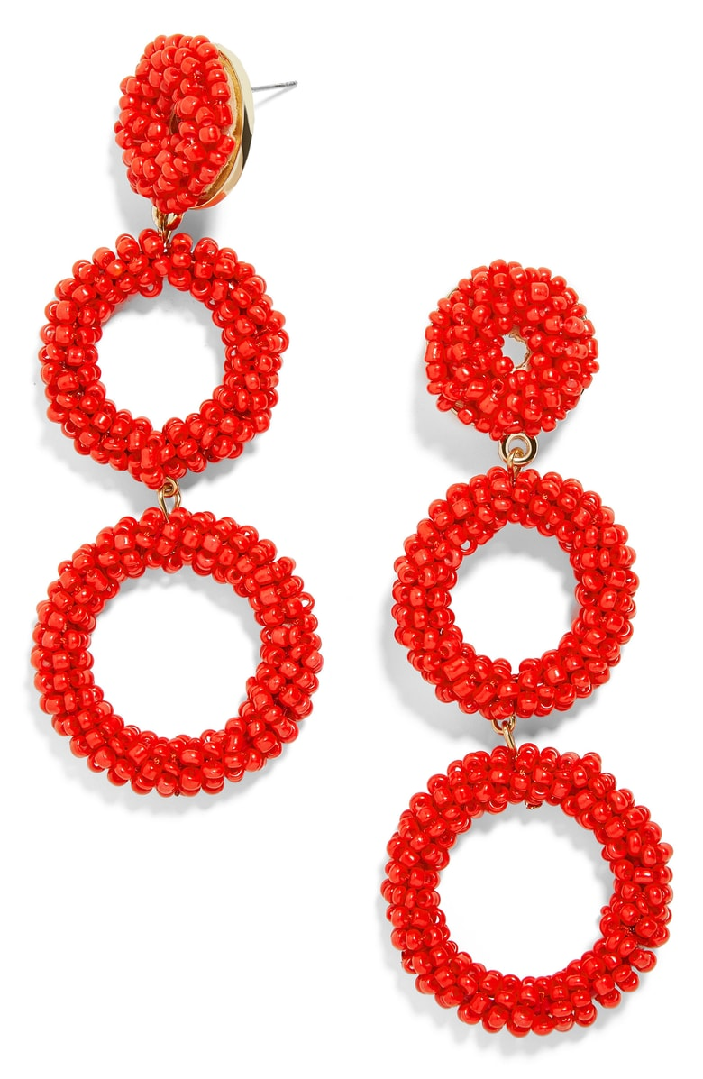 Capella Beaded Triple Hoop Drop Earrings