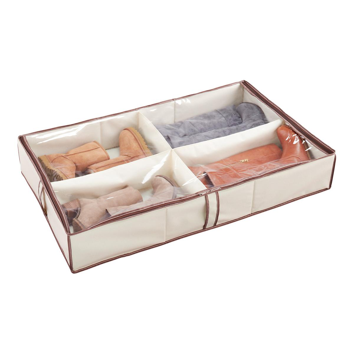 4-Compartment Underbed Shoe Organizer