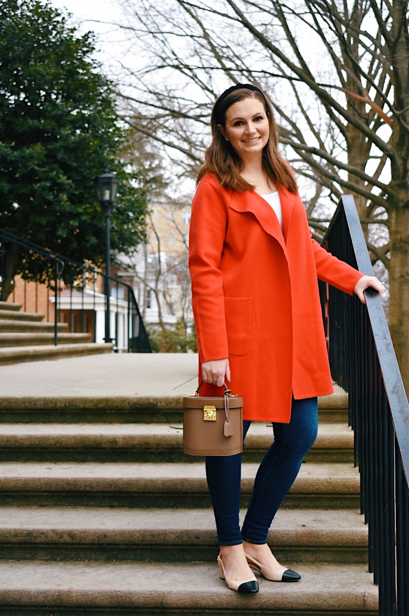 A Pop of Red with a J.Crew sweater blazer