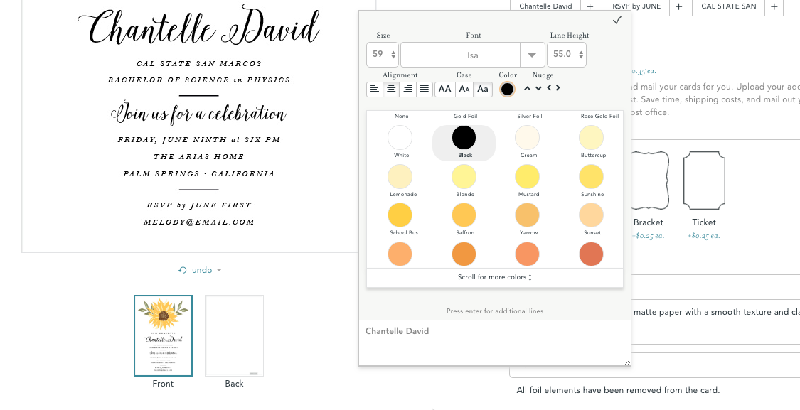 Here's a screen shot of one of the graduation invitation templates - look at all the different color shades available!