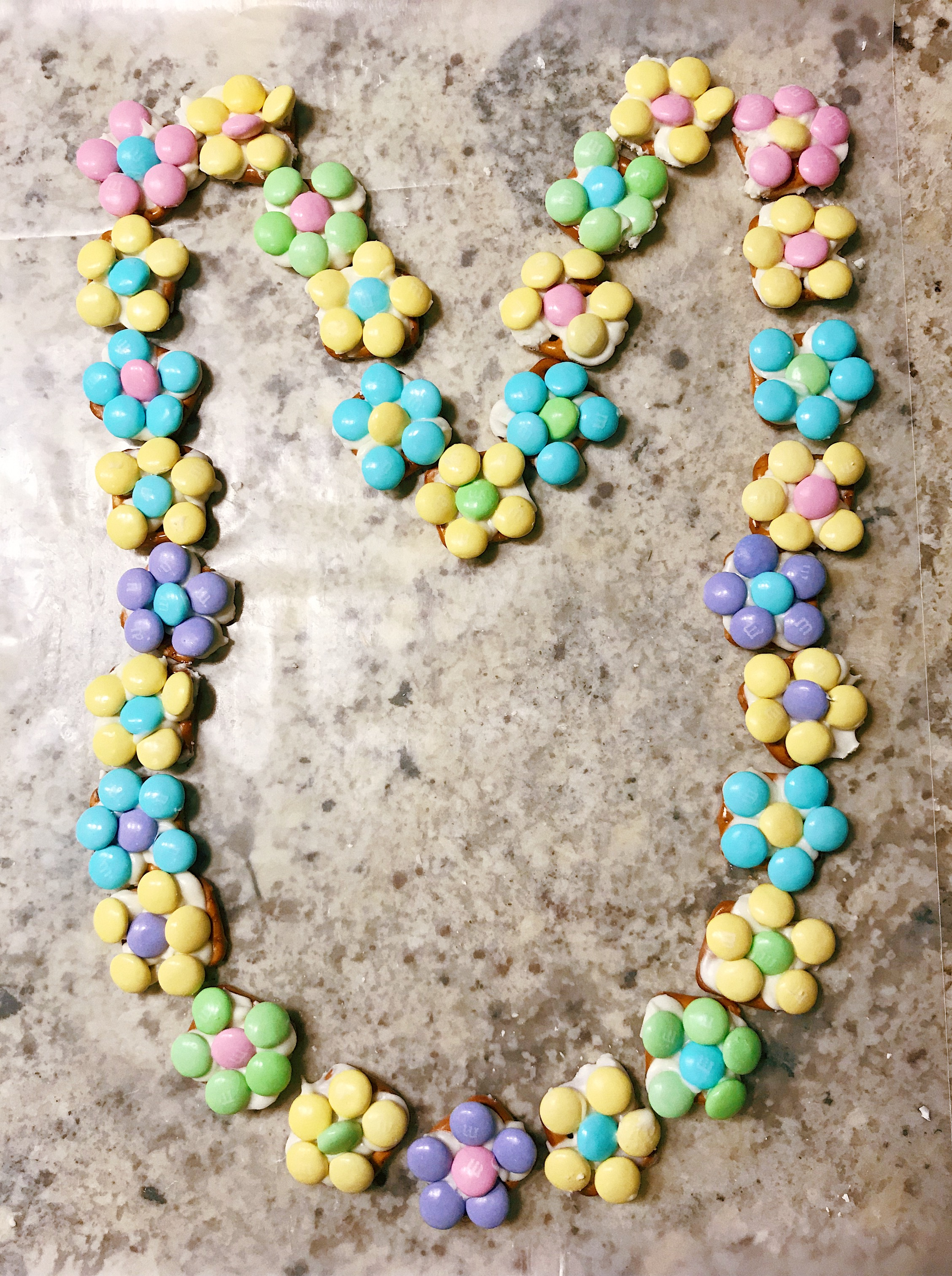 Pretzel M&M Blossoms