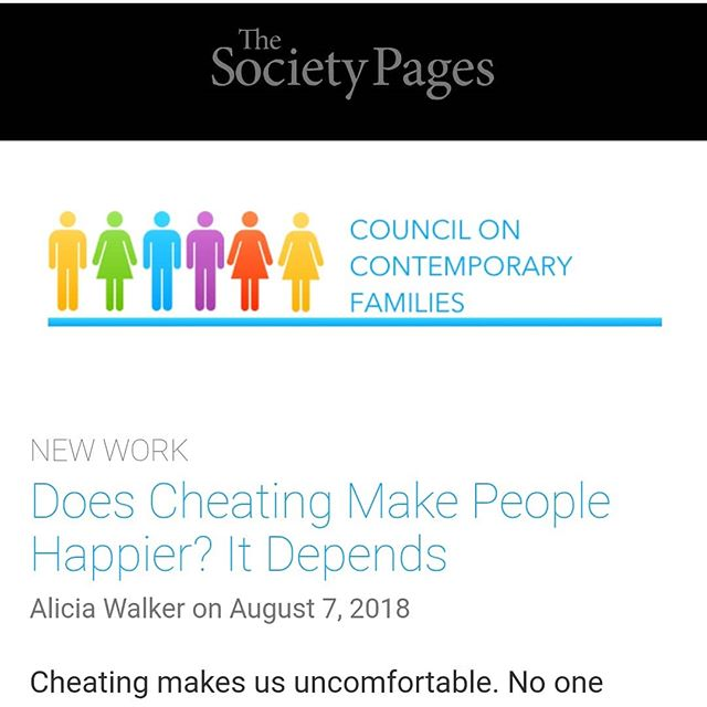 Check out my latest post on The Society Pages explaining my latest research in layman's terms 💍🔥🤩 https://thesocietypages.org/ccf/2018/08/07/does-cheating-make-people-happier-it-depends/ #sexresearch  #sexreseacher  #womenauthors #womenwriters  #marriage #happiness #infidelity  #cheating  #academia #academic  #relationship  #relationshipresearch