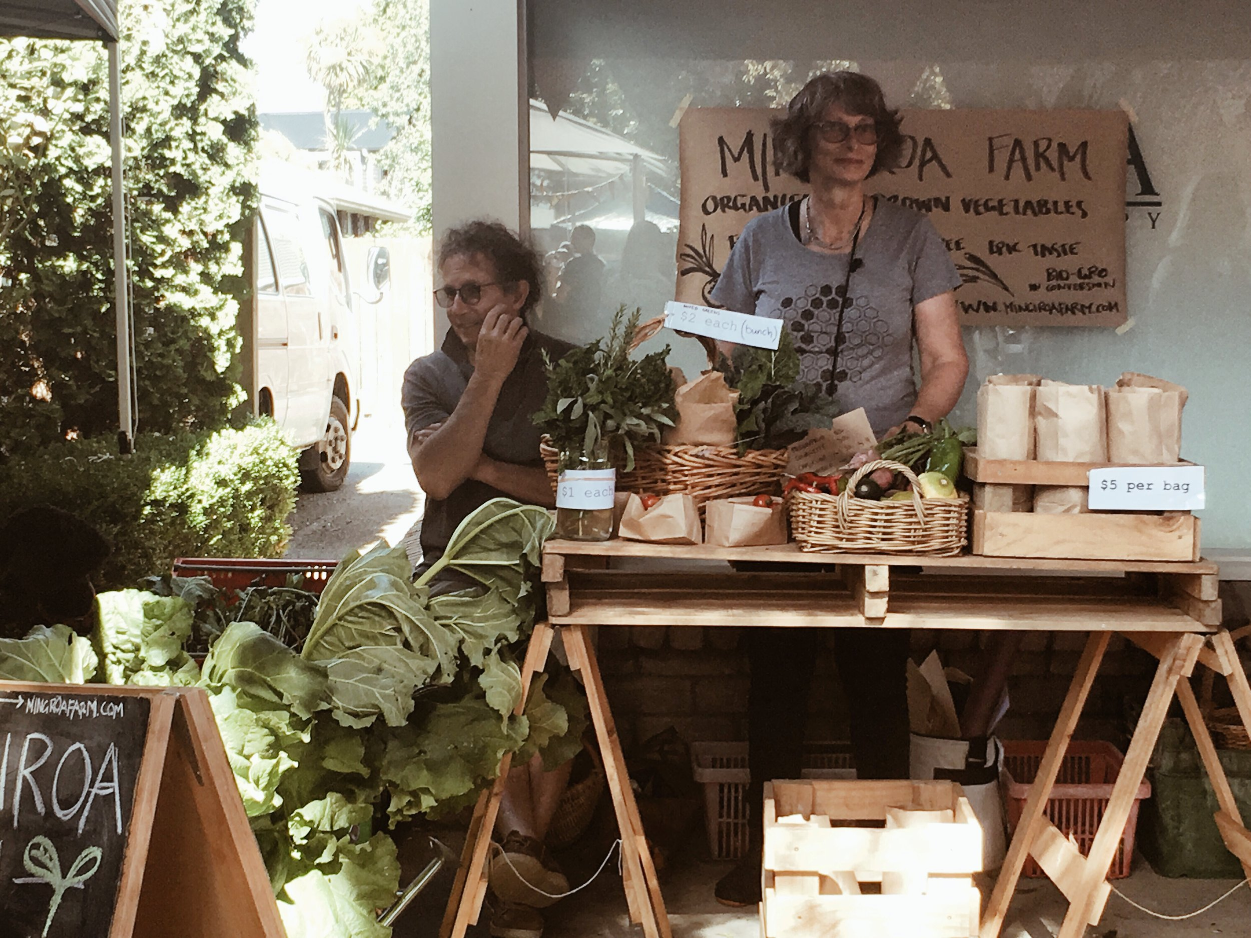 Sal and Richo with a table full of freshies at one of our favourite markets - Hokowhitu Farmers Market, Palmerston North.