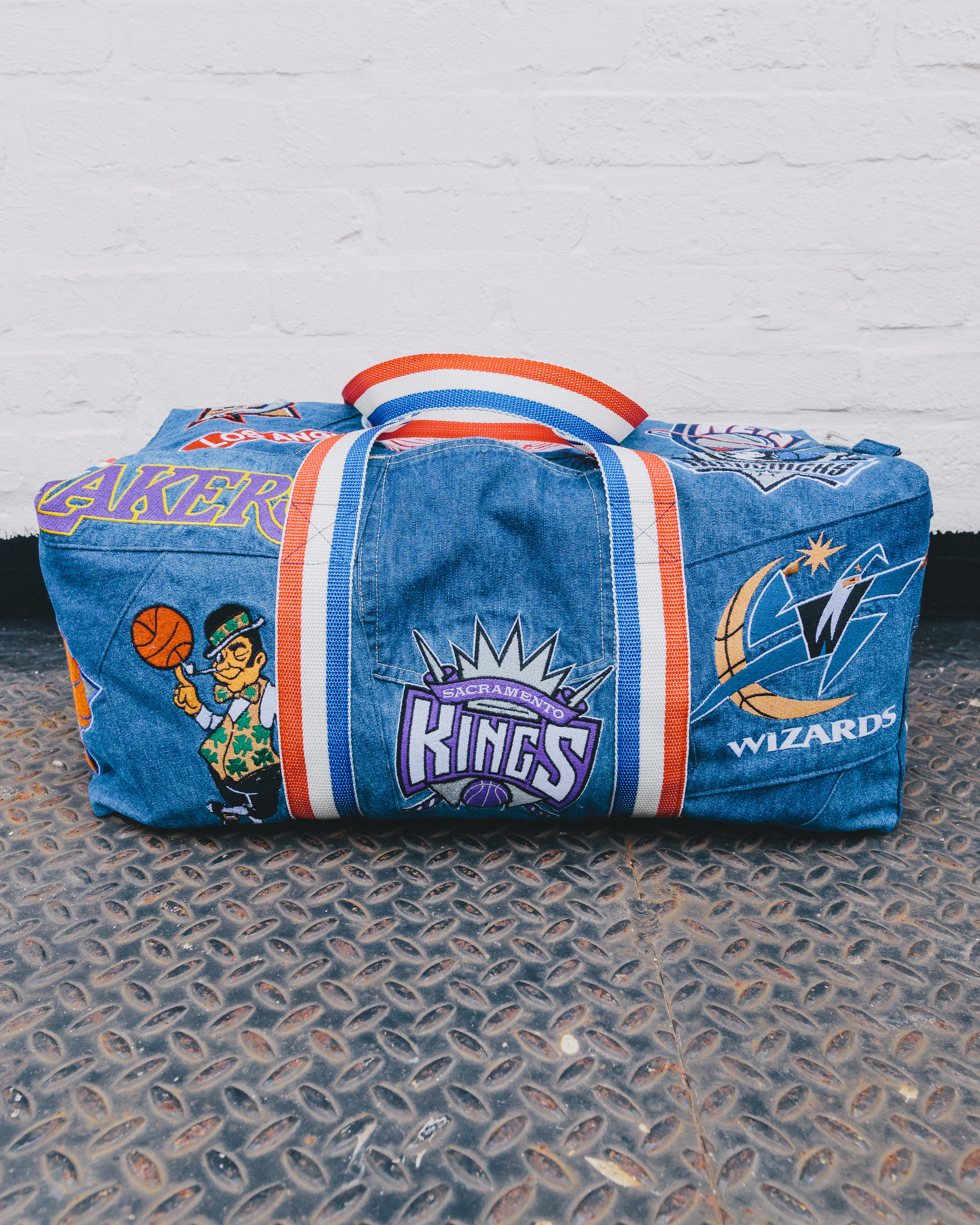 NBA Duffel - Made from Vintage UNK Denim Jeans patch-worked together.