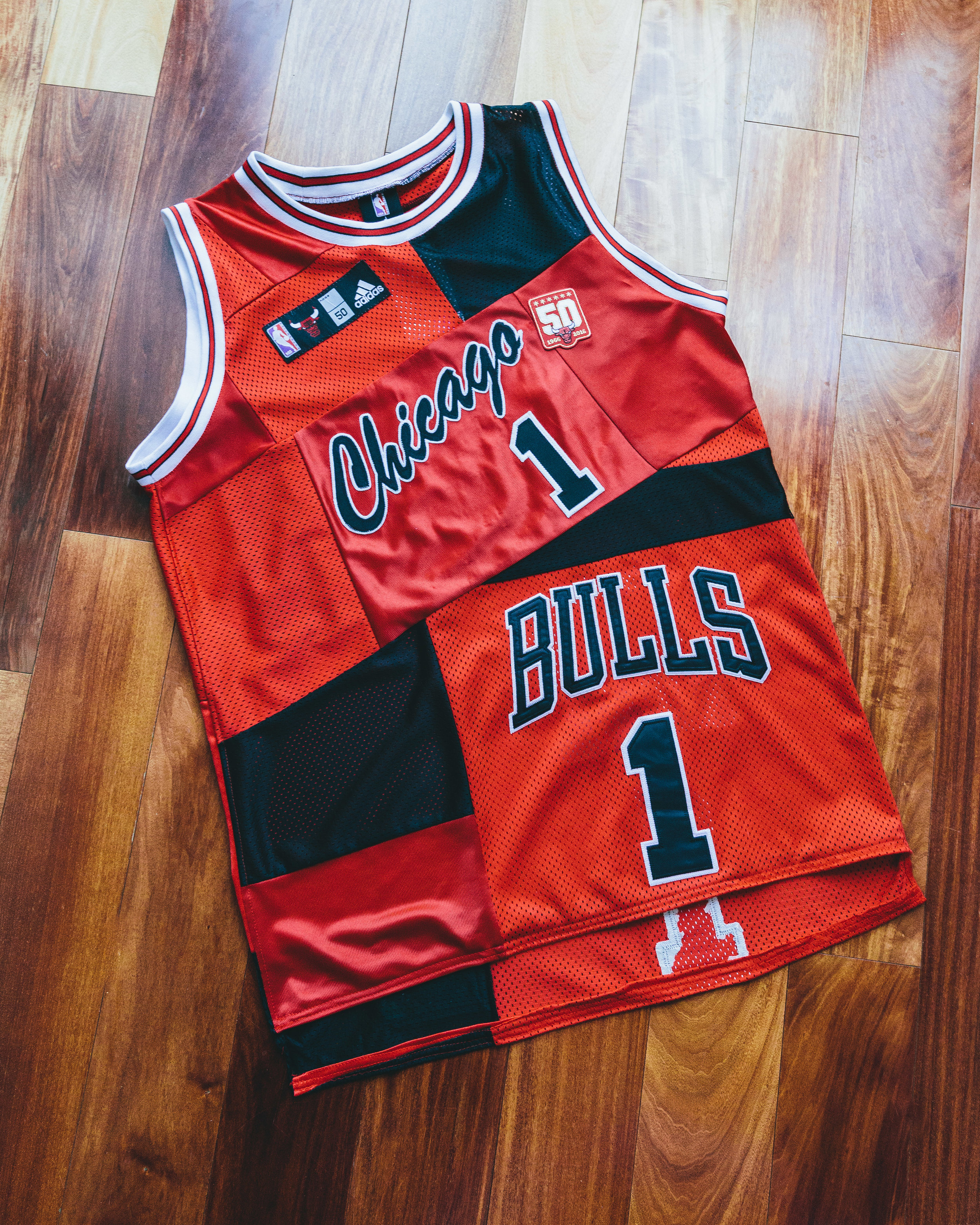 D. Rose Jersey - Patchworked from various Chicago Bulls jerseys into one new piece