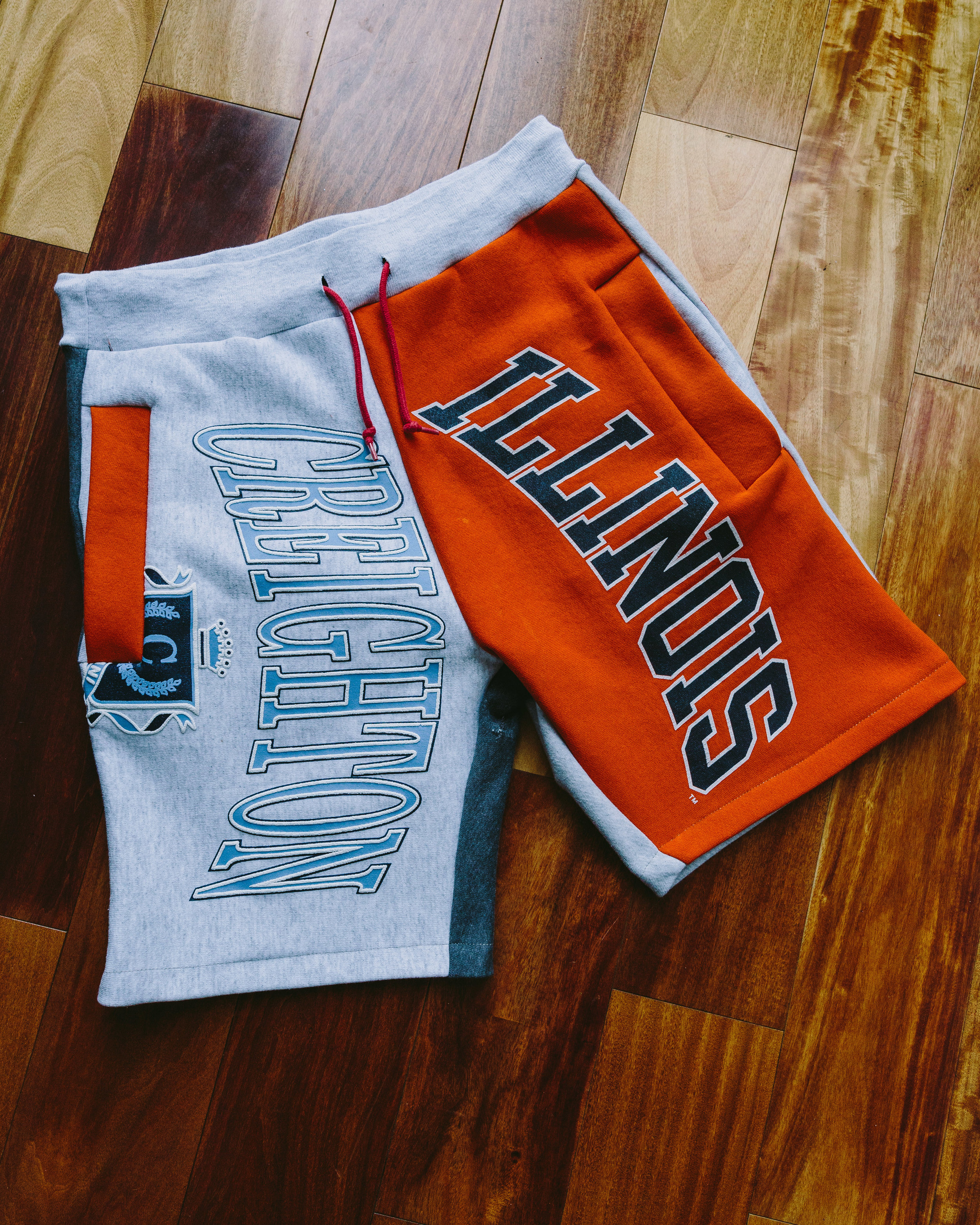 Orange Collage SweatShort - Combined an assortment of unrelated teams and vintage collegiate crewnecks that were sourced in Chicago.