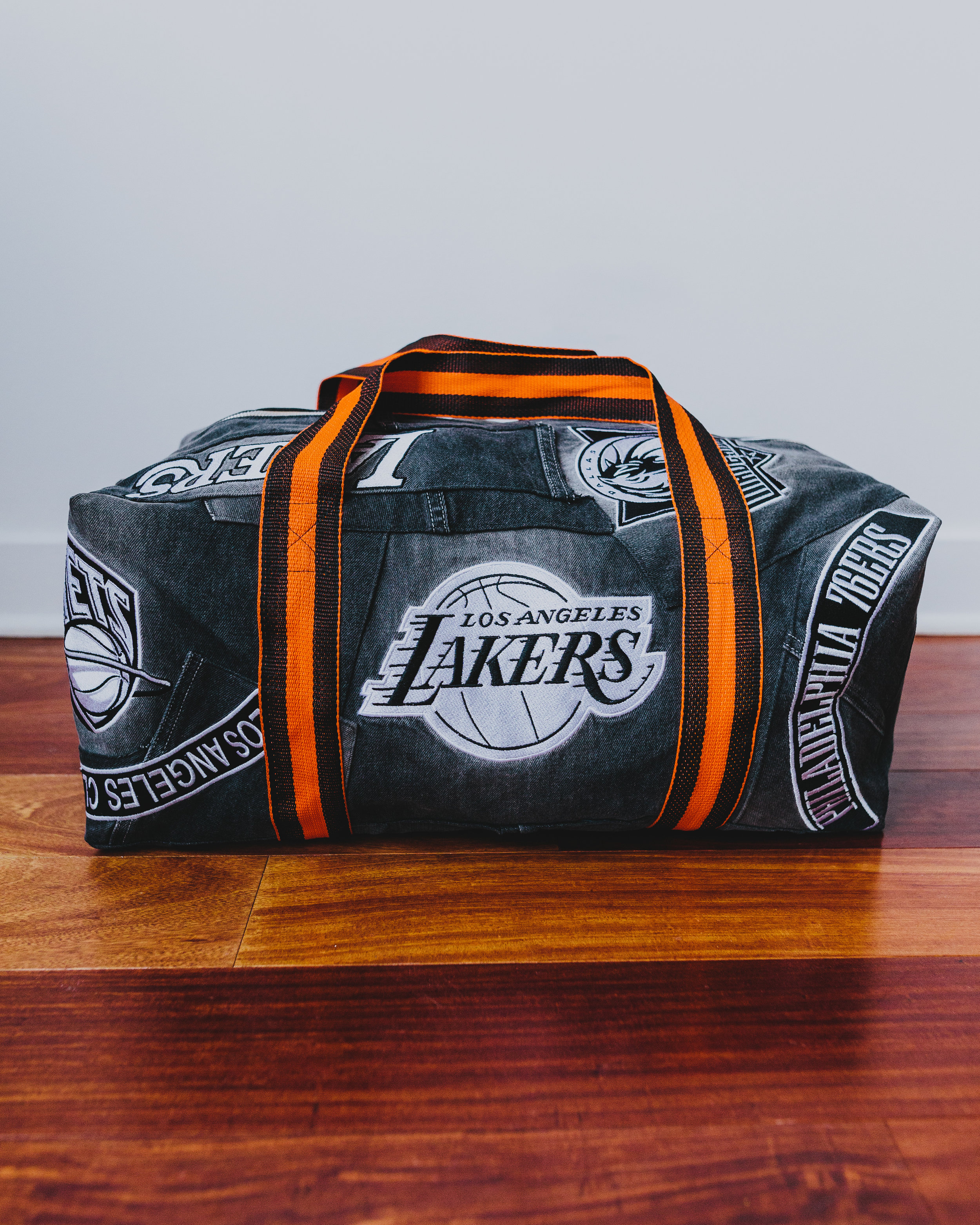 NBA Duffel 2 - To pair with the blue and red/white bag I had previously done. Made from vintage jeans.