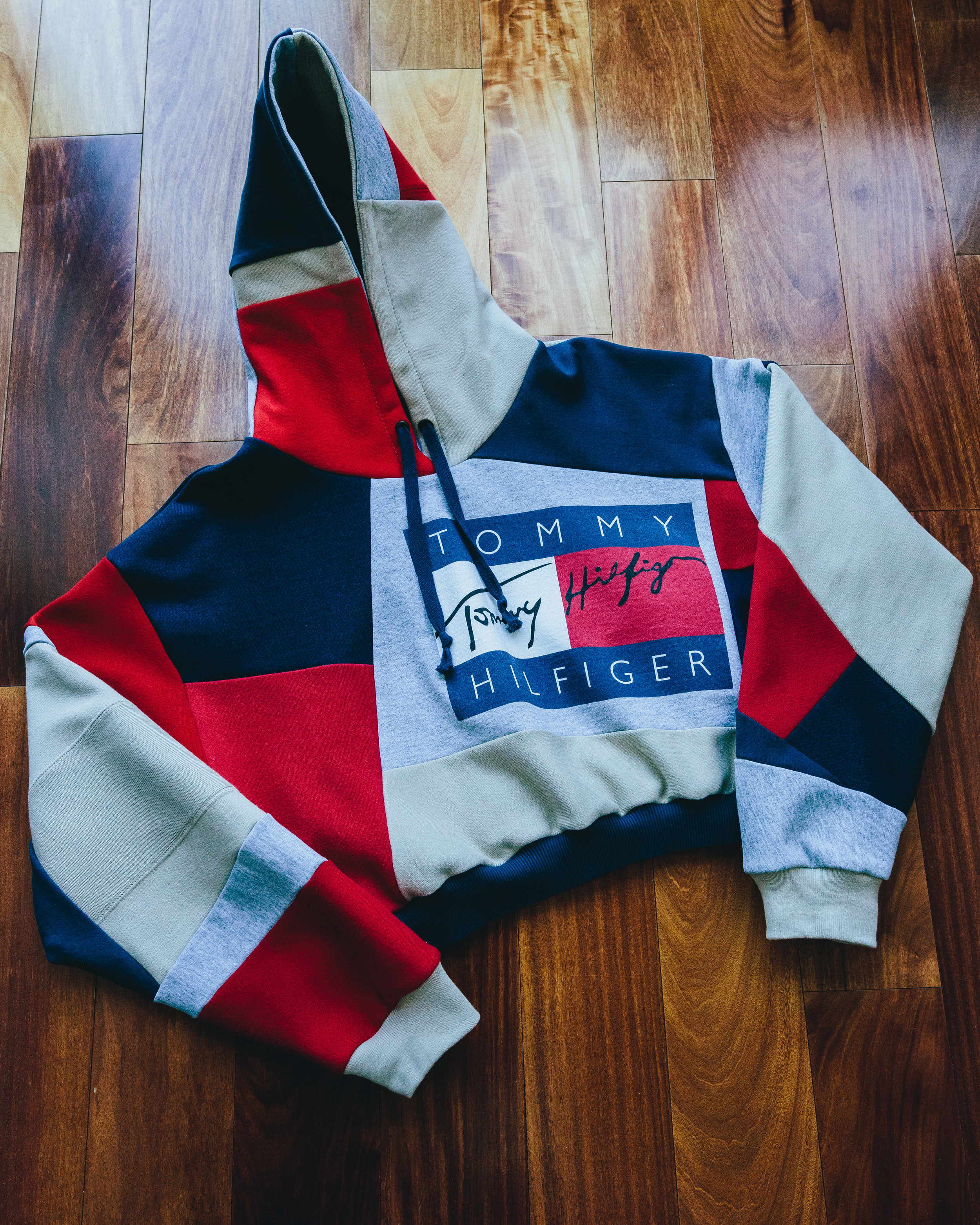 Tommy Crop Hoodie - 3/4 length crop top women's hoodie from a vintage Tommy piece
