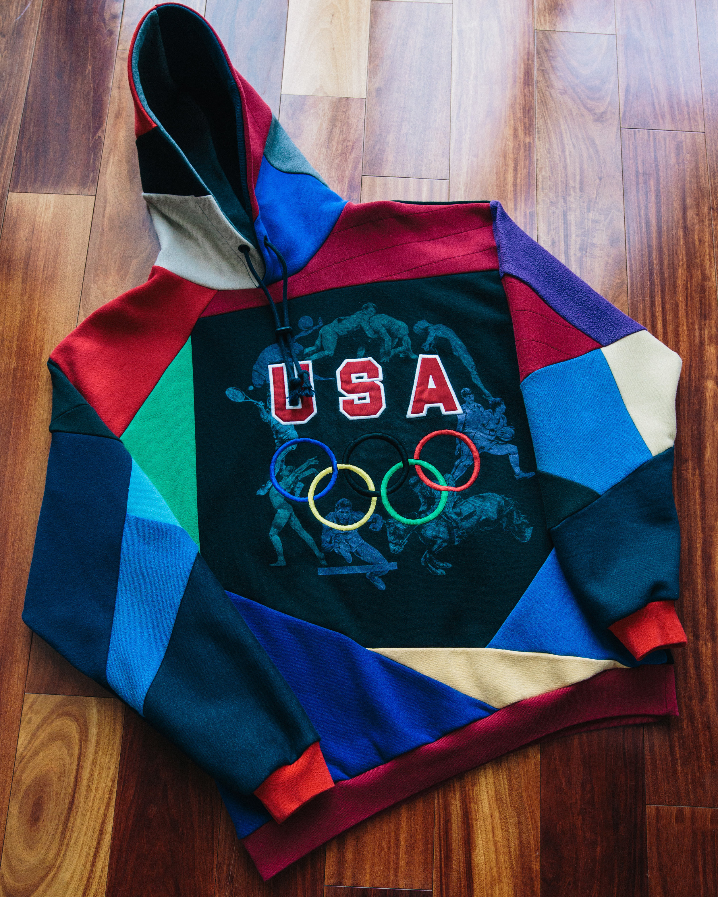 USA olympic - Made reconstructing a vintage black crewneck with corresponding colors to create something new that pops