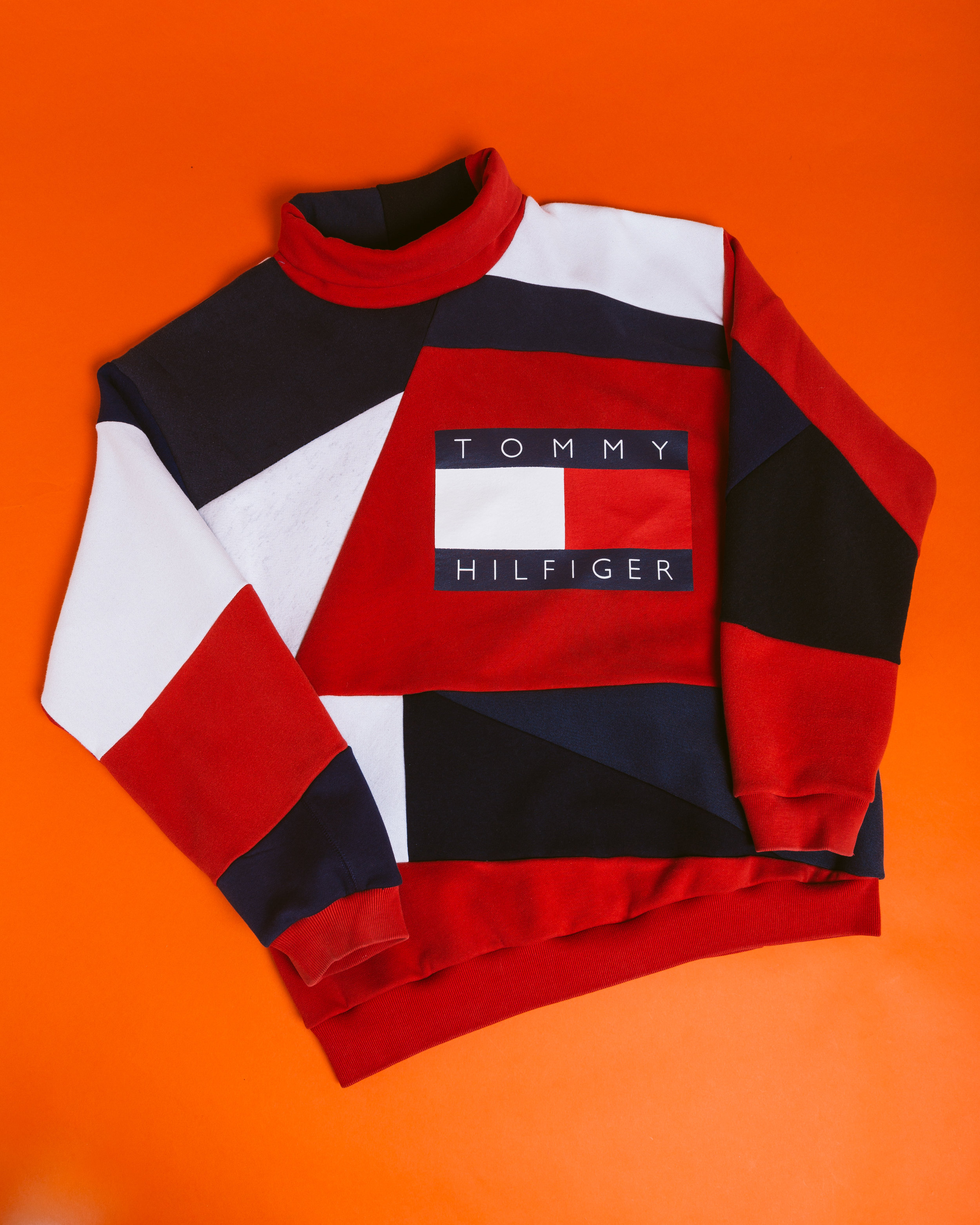 Tommy Turtleneck - Inspired by Tommy Hilfiger I reworked this classic 90's big logo flag crewneck into a new piece of history.