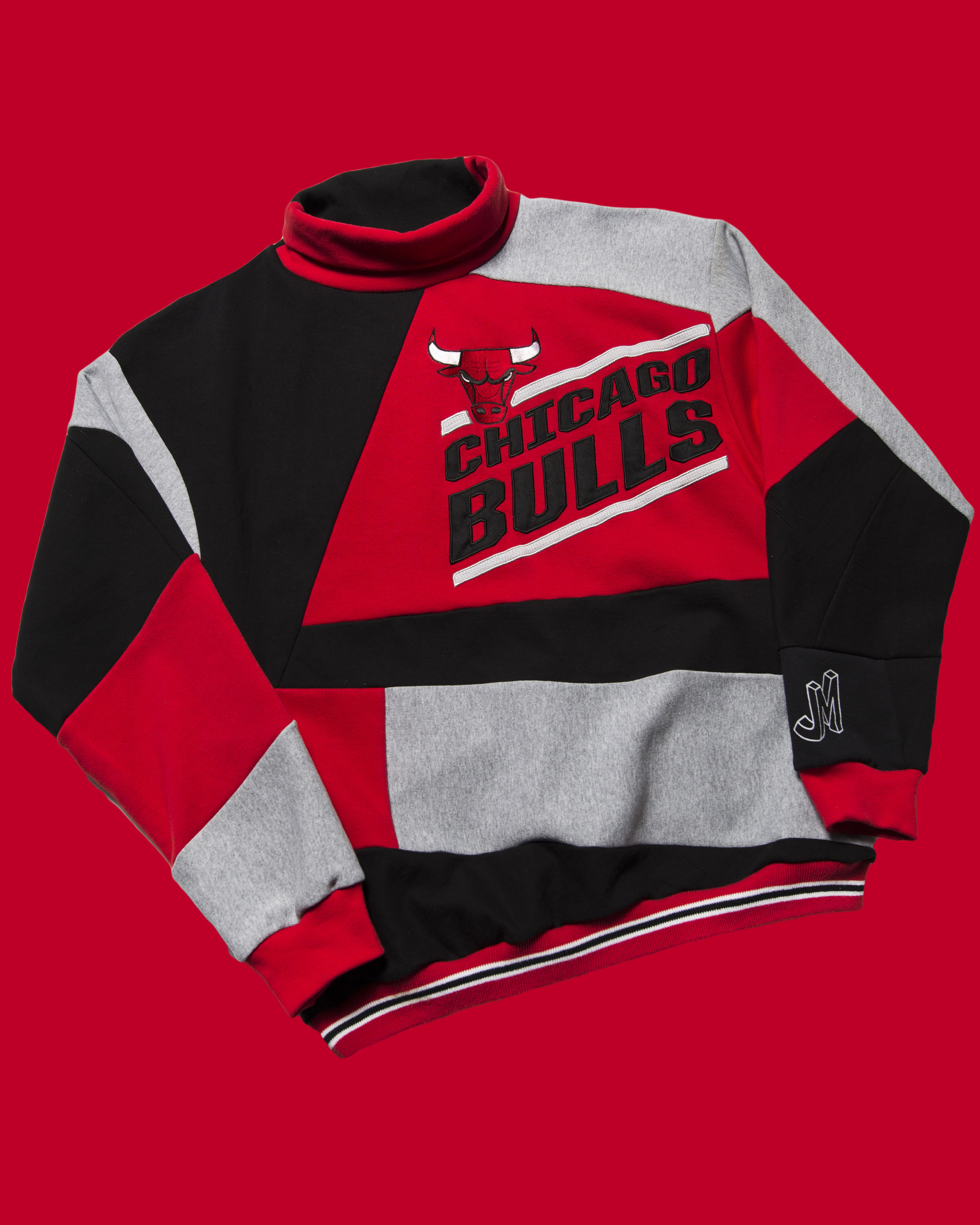 Bulls Mosaic - 90's style mock neck sweatshirt with embroidered bulls slanted graphic and JM wrist logo