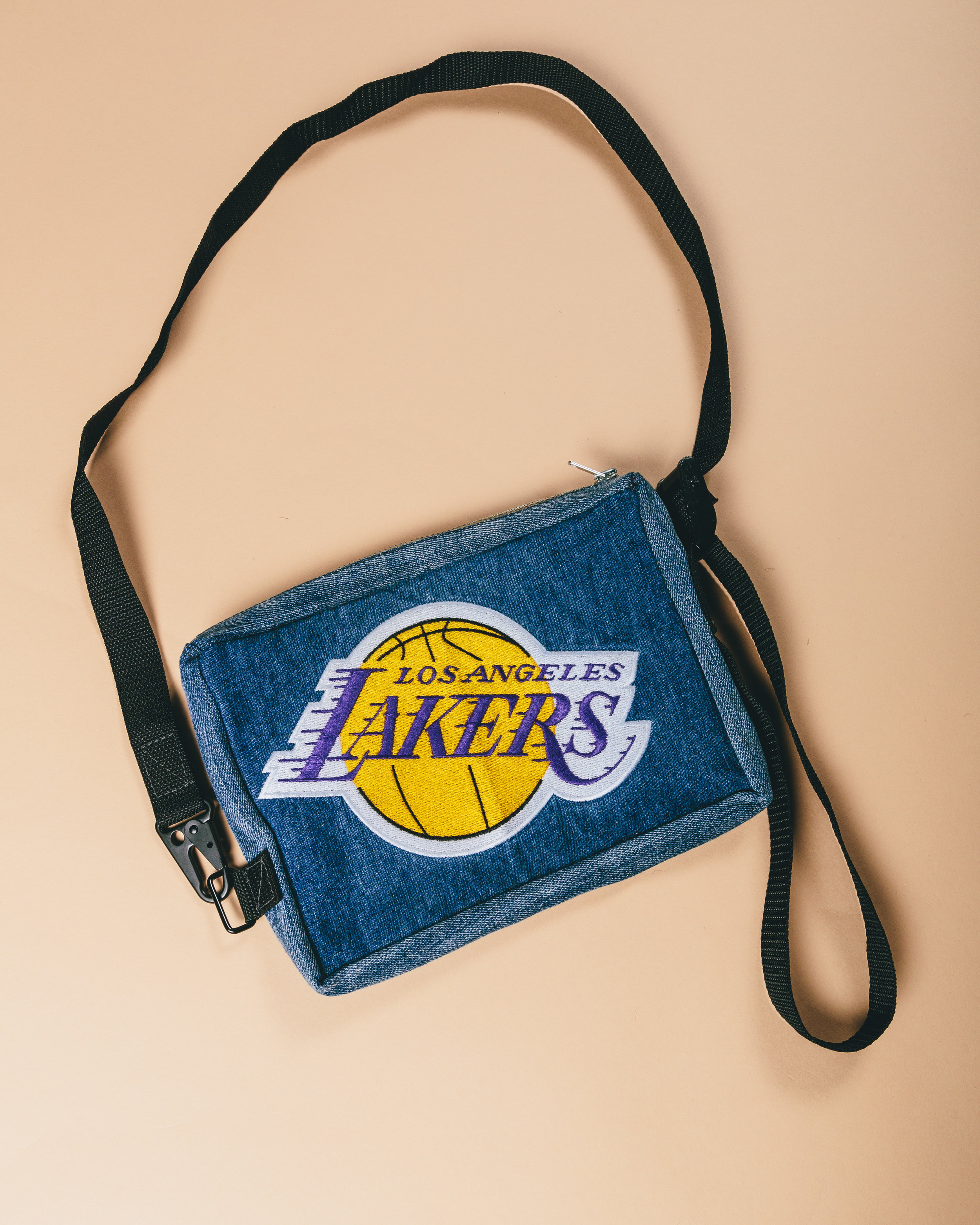Lakers side bag - Reconstructed from a pair of UNK denim from the early 2000's.