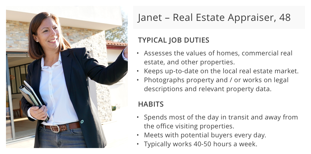 The target persona was Janet, a 48-year-old real estate appraiser, who spends most of the day in transit away from the office.