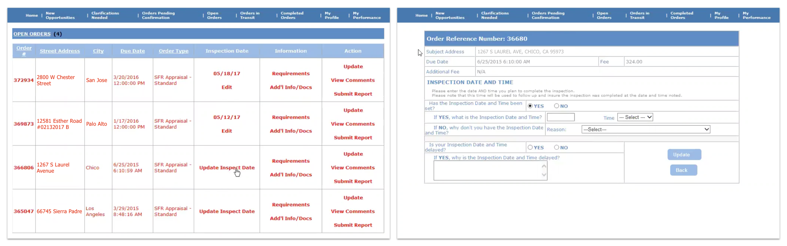 Screenshots from the web-based source application shows cumbersome UI.