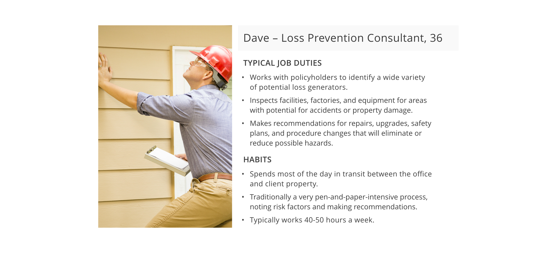 The the target user persona of Dave, a 36-year old loss prevention consultant.