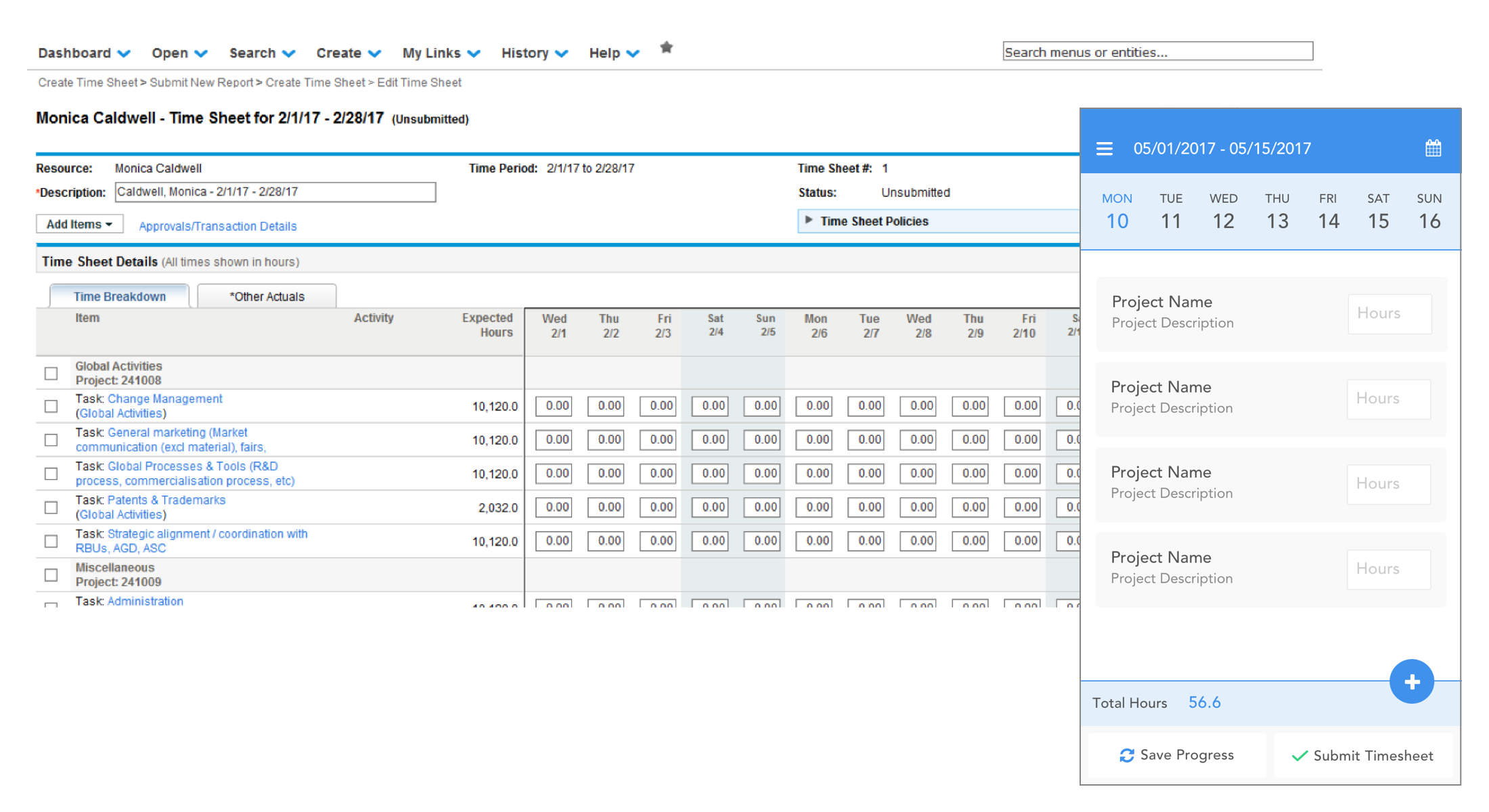 Rather than a dropdown, column headings are represented in a swipeable bar of dates. In this case, the updating values are editable fields. Tapping a project row will display all days within the displayed pay period on a separate page.