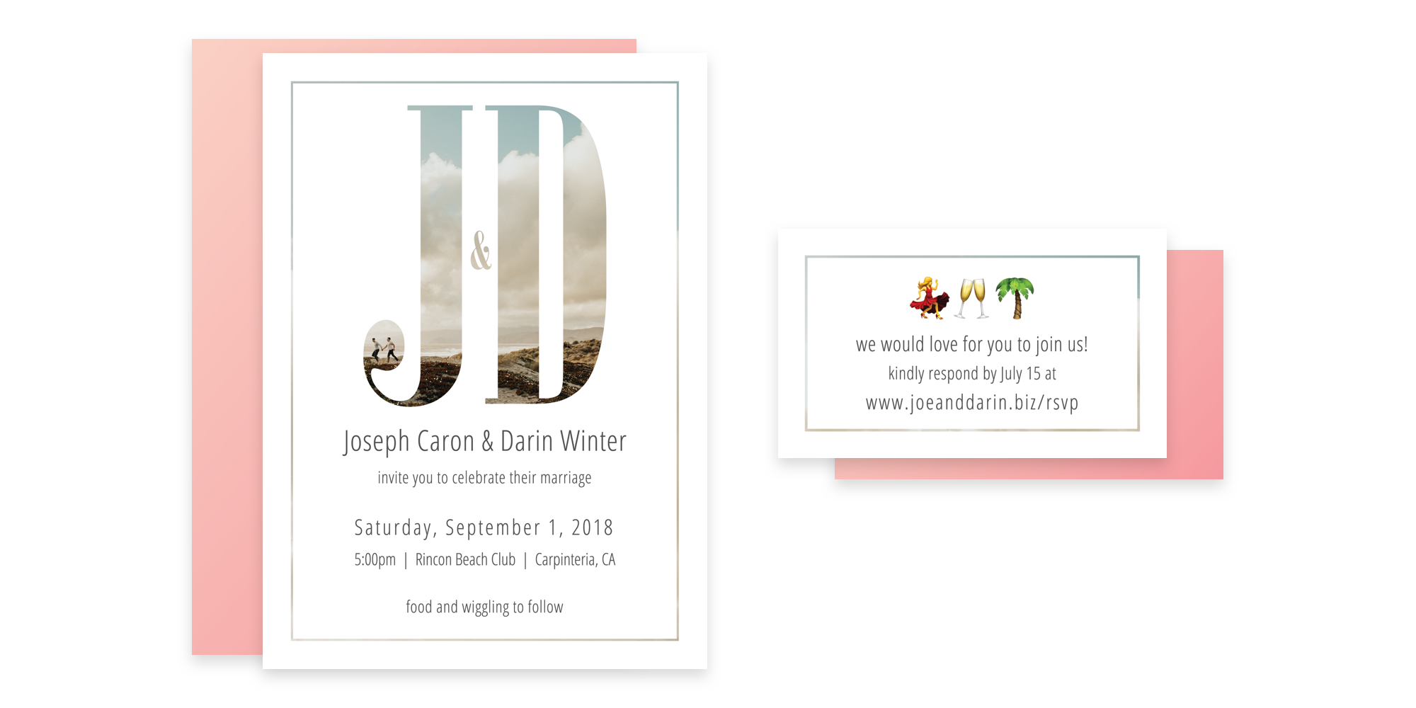 "The invitations were a little more formal, featuring a photo of us running on Ocean Beach masked through large ""J&D"" type."