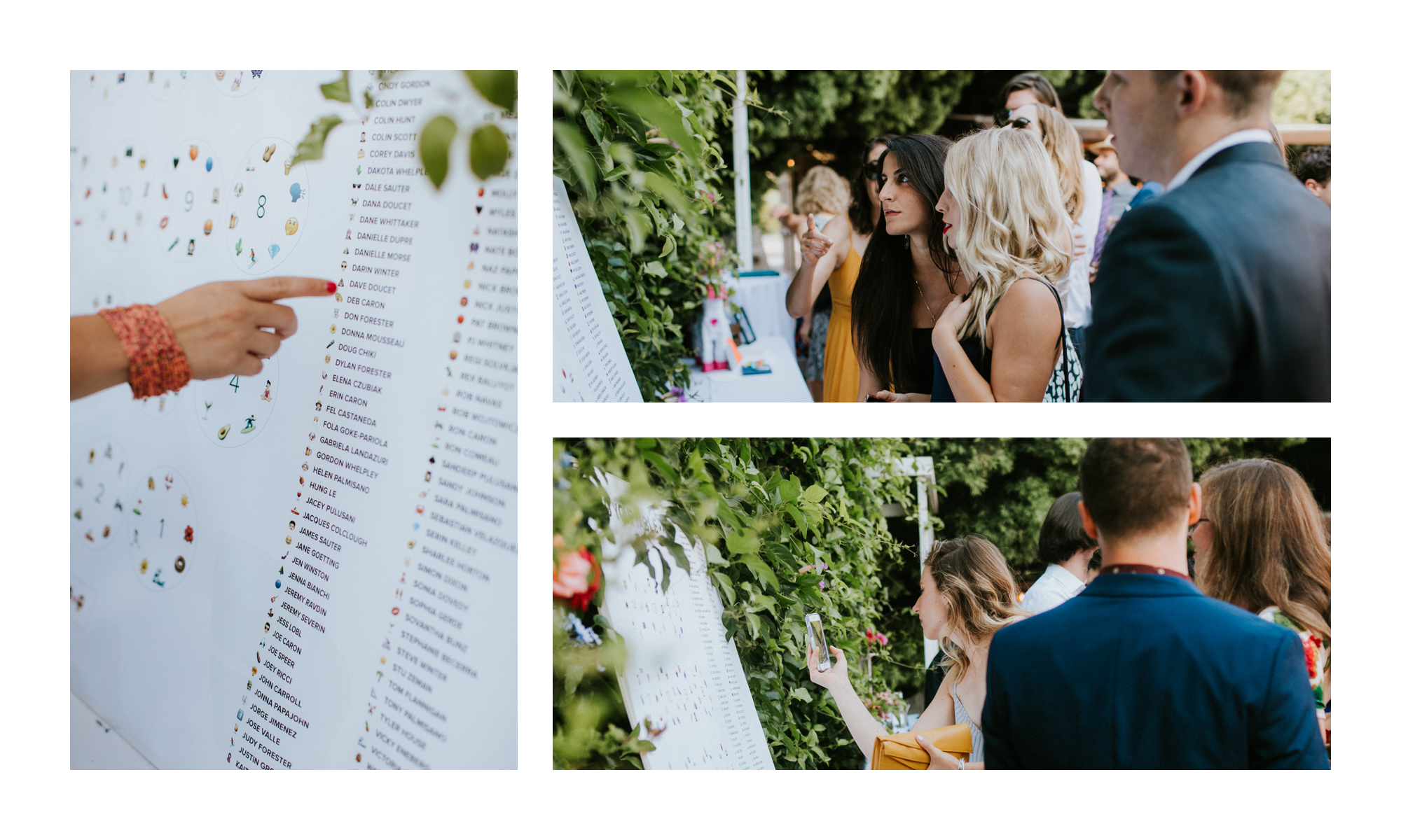 Photos of guests interacting with the seating chart. It was a great conversation piece!