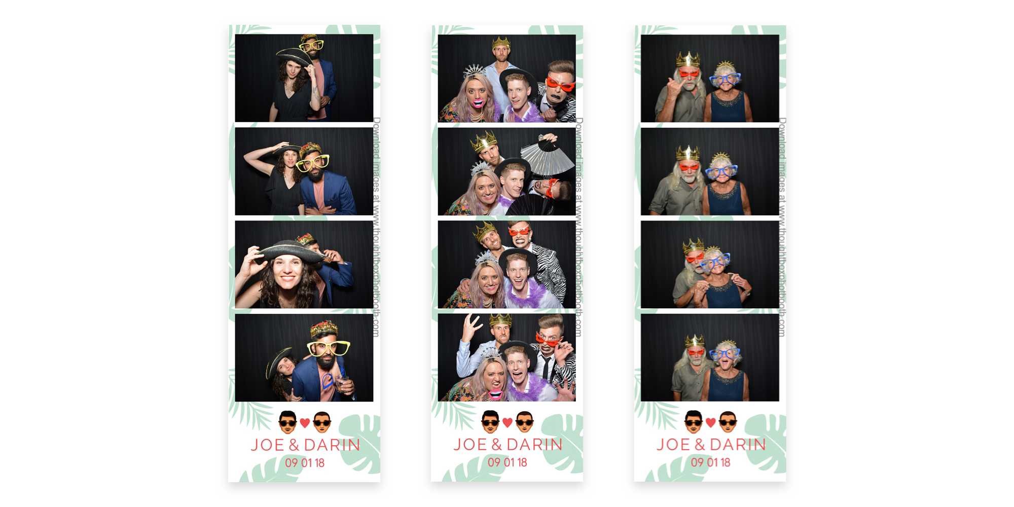 Photo booth photos showing some silly guests on branded strips.