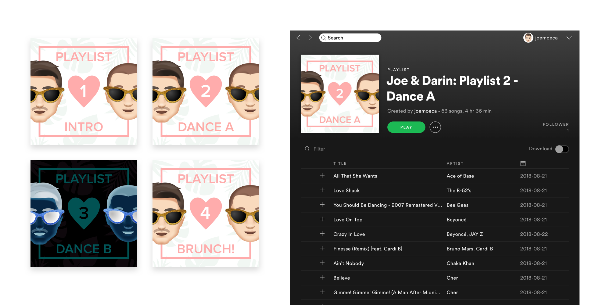 Custom playlist cover art was attached to each playlist in Spotify.