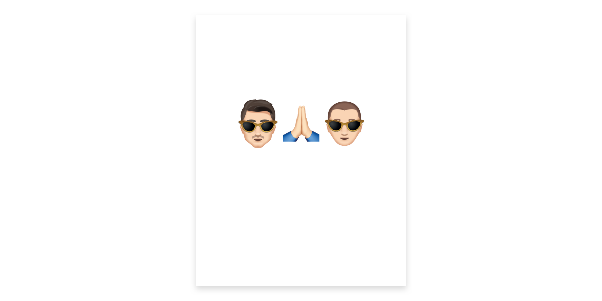Our thank you cards were minimal, showing our signature emoji with praying hands in the middle.