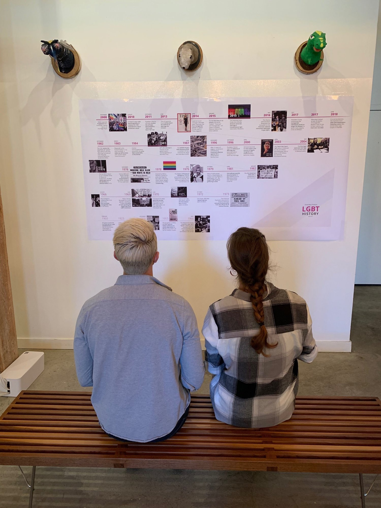 A colleague and I sit and view the LGBT timeline.