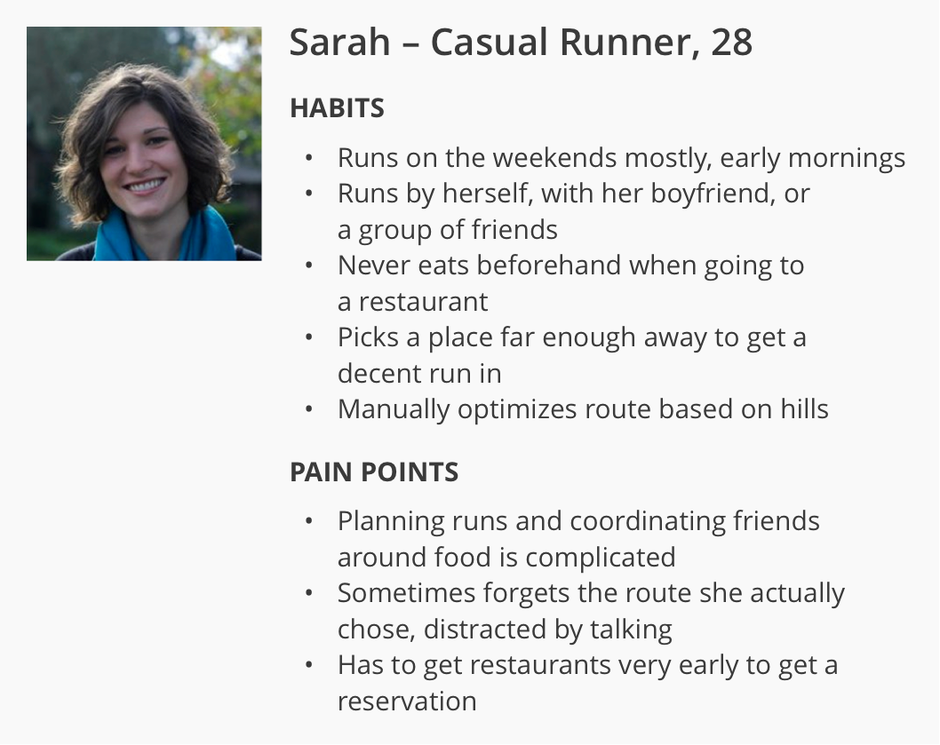 The target persona was Sarah, a 28-year-old casual runner and socialite.
