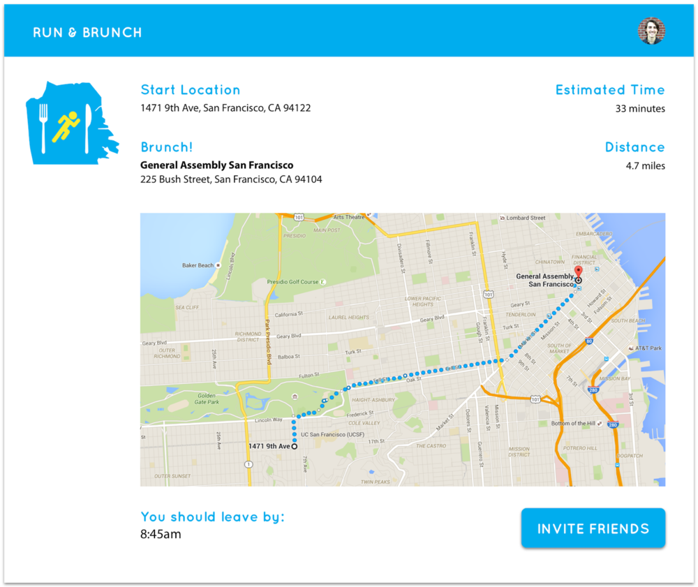 Main screen of the app, showing start and end points of the run with the brunch destination selected.