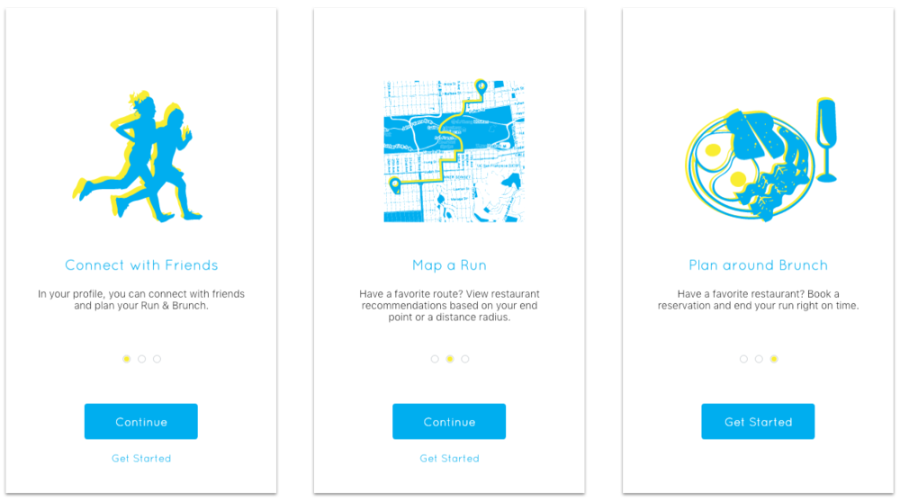 Mockups of the three pages that form the educational onboarding flow.