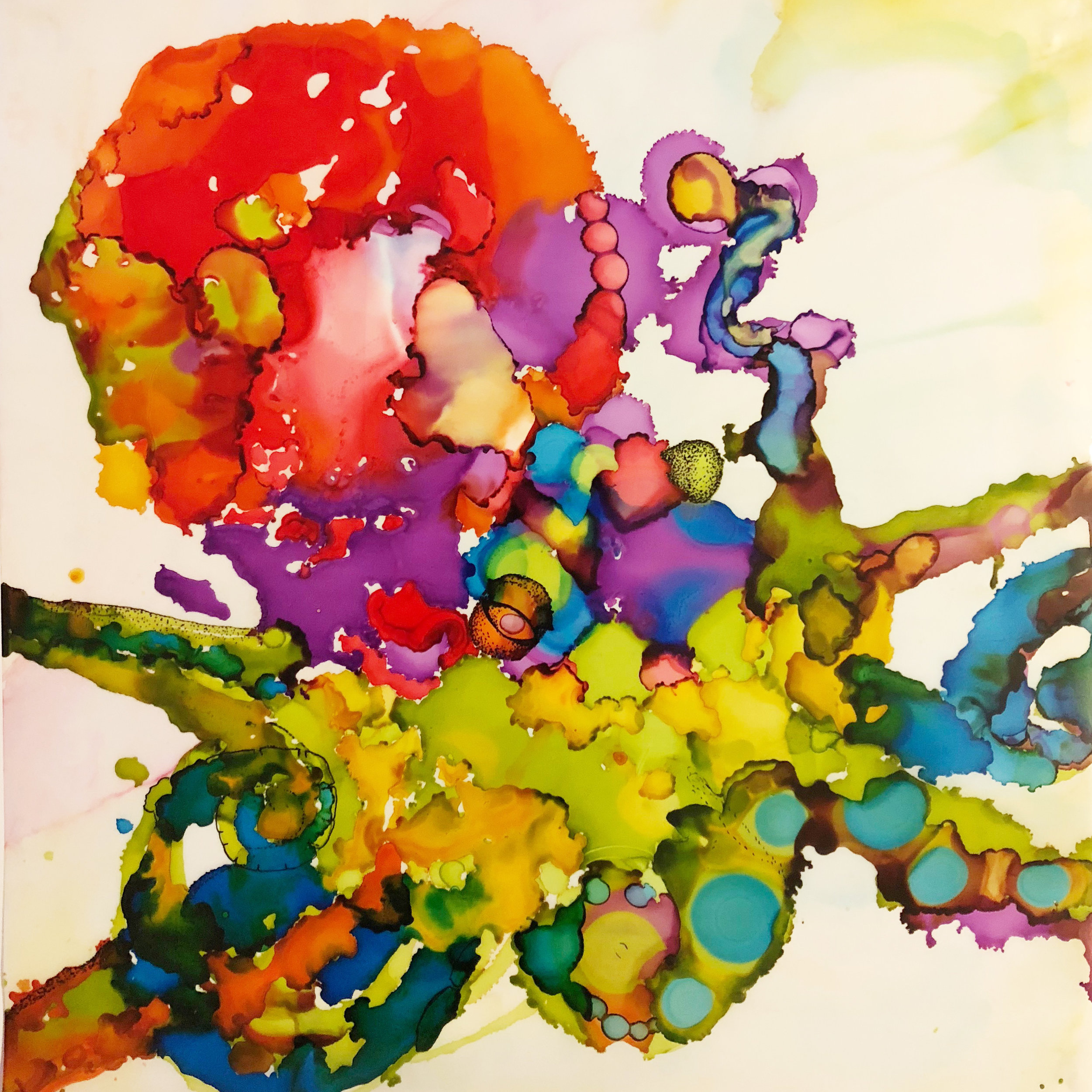 Abstract Octopus, alcohol ink & pen
