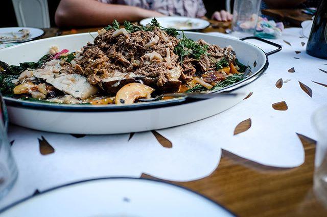 """Insane"" - @aguynamedpatrick  eggplant leg of lamb / whole roasted baba ganoush / grilled peaches / rainbow chard  By a 'kaleidoscope' of chefs Andre de Waal X Brandon Grimila X Mike Carrino 📷 @alisonconklin  Bacon & Lox Society Full Circle Meal @baconloxsociety #blscreekdinner Alisa Tongg, Celebrant, Founder + Producer, @alisatongg | Nicole Hutnyk, Visual Direction, Planning & Invitation Design, @rabbitrabbitcrew | Sarah Petryk, Floral Installations & Visual Direction, @alliumfloraldesign | Alison Conklin, Event Photographer, @alisonconklin | Karina Puente, Papel Picado Installation, @karinapuentearts | Abundat Inc, Custom Builder, @abundat_inc | Hand Sawn LLC, Communal Tables, @handsawn| Chippy White Table, Creek Seating and Lounges, @chippywhitetableWas | Chefs: Andre de Waal @dewaal_a , Mike Carrino @mikecarrino and Brandon Grimila @brandongrimila | Ken Jones Jr. X Two Paper Dolls, Menu |"