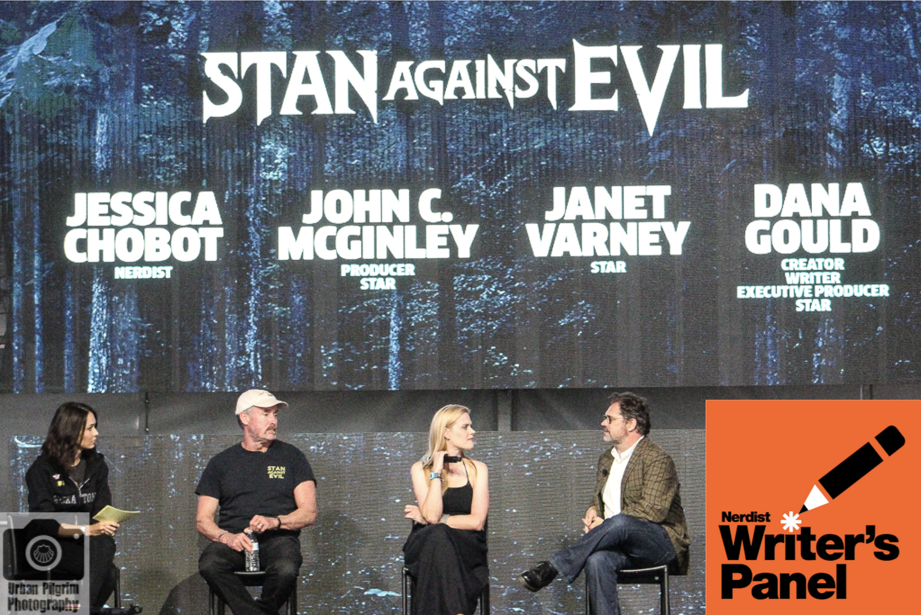 Nerdist Writers Panel#358: Stan Against Evil(October 31st, 2017) - Live from Id10tfest, creator Dana Gould (The Simpsons) and stars John C. McGinley (Scrubs) and Janet Varney (Legend of Korra) look back on the show's first season and look forward to the second which premieres November 1 on IFC!Moderated by Nerdist's Jessica Chobot.Stan Against Evil theme is by Eban Schletter.