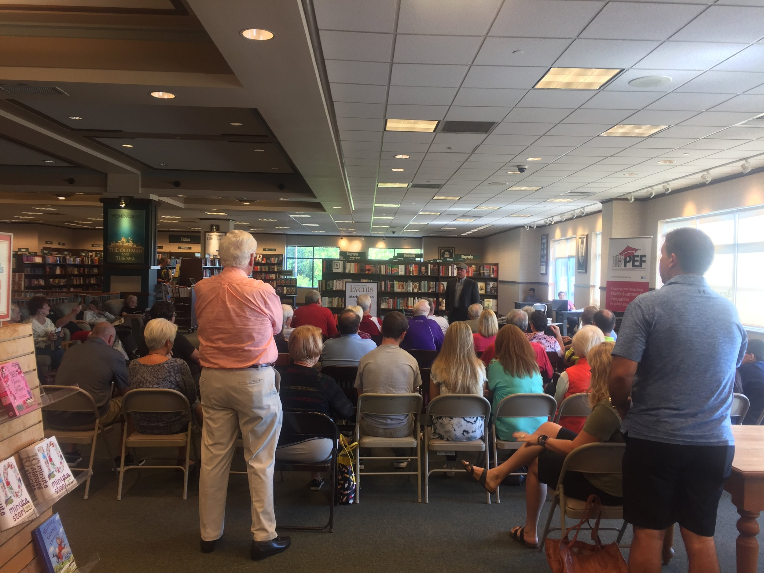 Standing Room Only at the Evansville Barnes & Noble. The man in the pink shirt is a very special guest, by the way: My Evansville Central High School Journalism teacher, Edwin Cole. One of the all-time greats! So nice to see him and his wife Sharon!