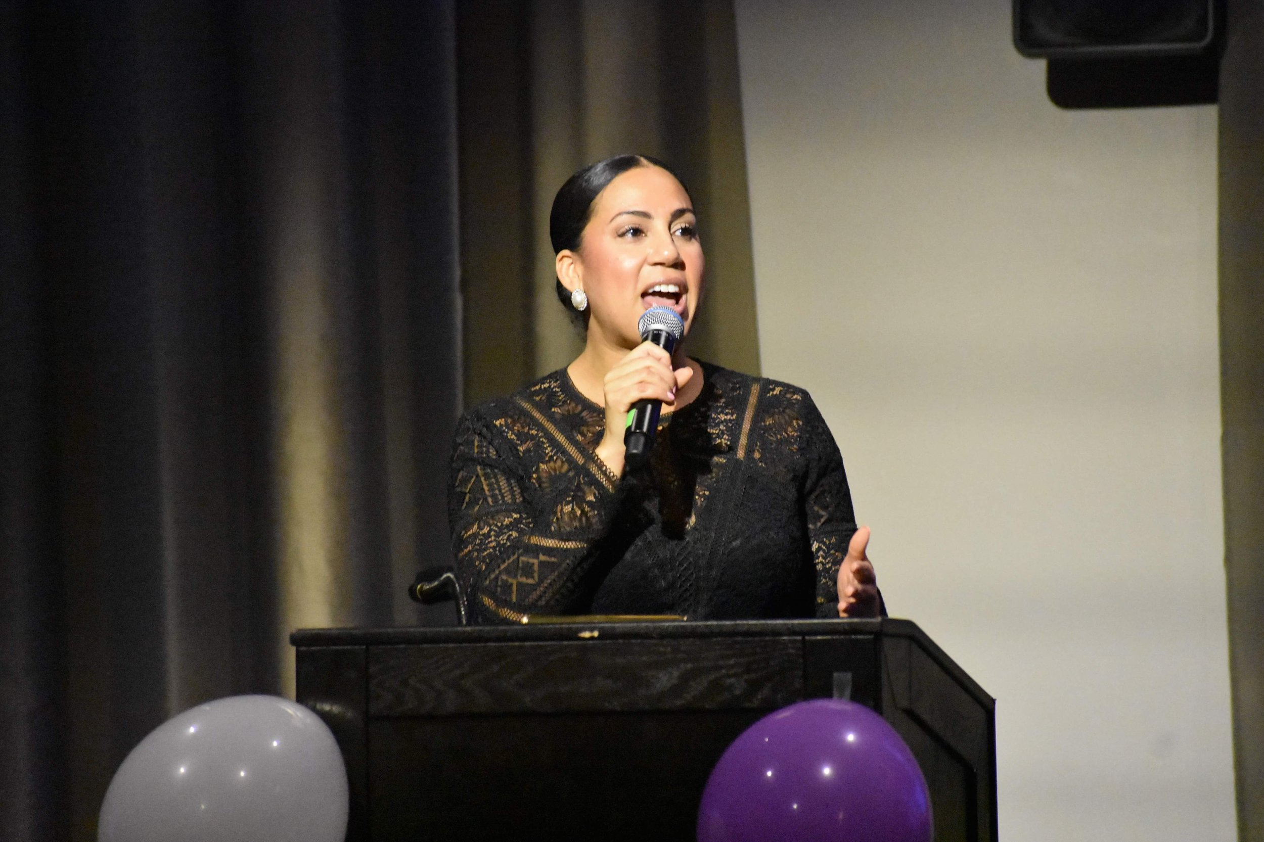 Natalie Madeira Cofield provides keynote address at 2019 Black Women Appreciate Dinner and Awards Ceremony at University of Rochester.