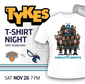 "CHARLOTTE HORNETS   A multi-tiered social campaign partnership between Tykes, NBA, and the Charlotte Hornets built up to an official ""Tykes Night,"" which was the first sold-out game of the season."