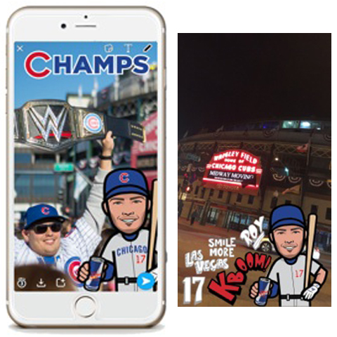 RED BULL   Red Bull enlisted Tykes to create a series of World Series MVP Kris Bryant Snapchat filters during surprise events in Chicago,becoming some of their most-utilized filters to date.